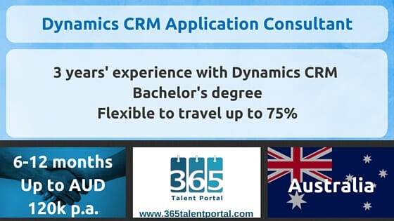 Dynamics CRM job – Application Consultant – Australia