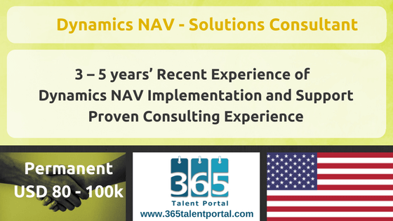Microsoft Dynamics NAV – Solutions Consultant – USA