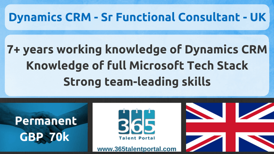Microsoft Dynamics CRM Senior Functional Consultant – UK