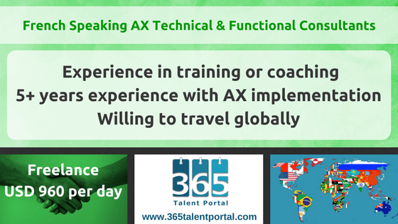 French Speaking Dynamics AX Technical and Functional Consultants