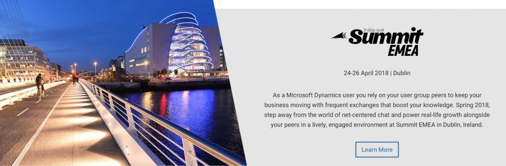 Microsoft Dynamics Events - Summit Dublin 2018