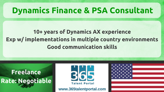 Dynamics 365 Finance and PSA Consultant