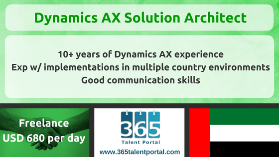 Freelance Dynamics AX Solution Architect in UAE