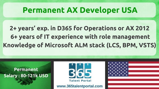 Permanent Microsoft Dynamics AX Developer USA