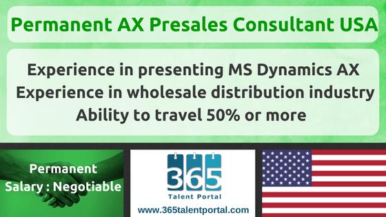 Permanent Dynamics AX Presales Consultant USA