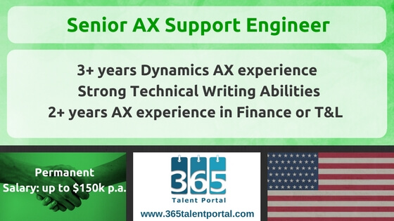 Permanent AX Senior Support Engineer USA Job