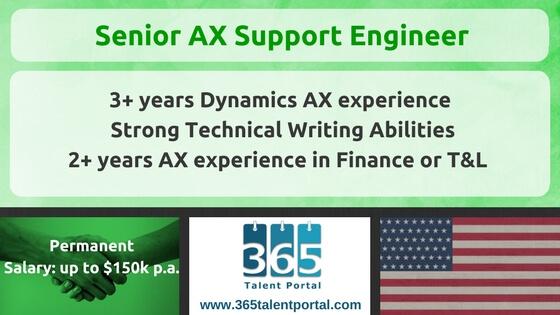 Permanent AX Senior Support Engineer USA Job