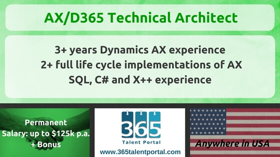 Dynamics AX/365 Technical Architect USA Job