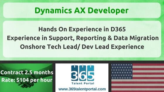 Microsoft Dynamics AX Developer USA Job