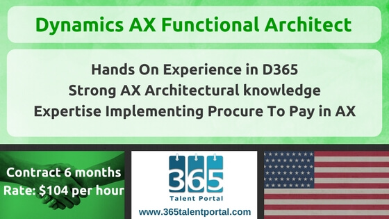 Microsoft Dynamics AX Functional Architect USA Job
