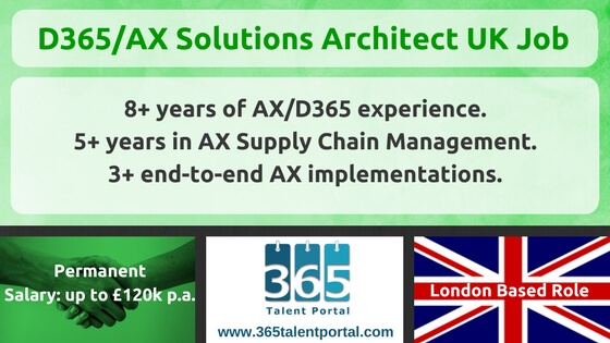 Microsoft Dynamics 365/AX Solution Architect UK Job