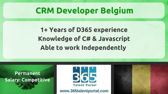 Dynamics CRM Developer Belgium Job - 365 Talent Portal