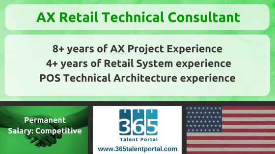 Dynamics AX Retail Technical Consultant USA Job