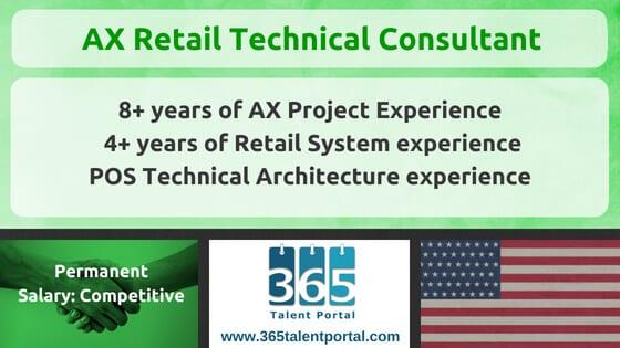 Dynamics AX Retail Technical Consultant USA Job