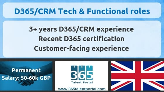 Dynamics 365 CRM Technical & Functional job – UK