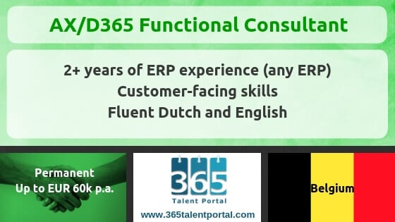 Permanent D365 F&O/AX Functional job – Belgium