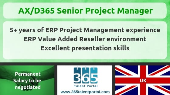 D365/AX Senior Project Manager job – UK