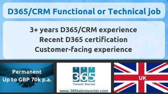D365/CRM Technical and Functional consultant jobs in UK