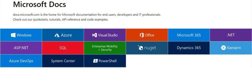 Microsoft Docs Homepage