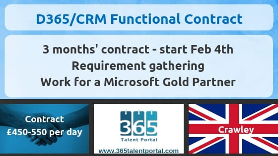 Contract Dynamics 365 CRM Consultant – UK – 3 months
