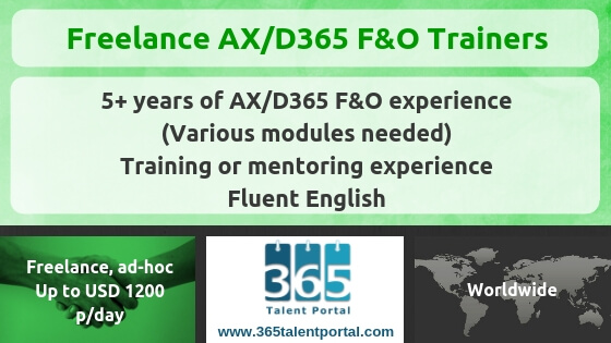 Freelance Dynamics 365 F&O Trainers for ad-hoc deliveries
