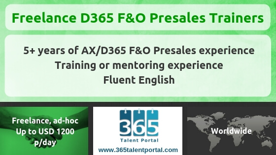 Freelance Dynamics 365 F&O Presales Trainers for ad-hoc deliveries