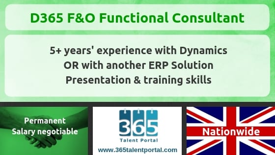 Dynamics 365 F&O Functional Consultant job – UK