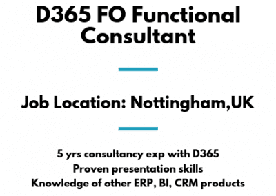 D365 FO Functional Consultant