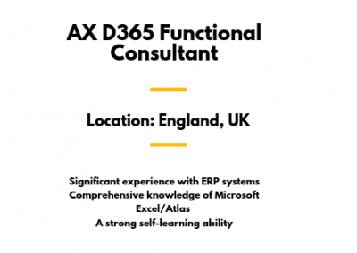 AX D365 Functional Consultant