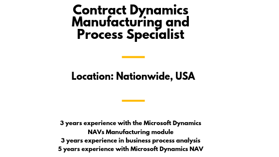 Contract Dynamics Manufacturing and Process Specialist