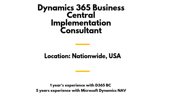 Dynamics 365 Business Central Implementation Consultant