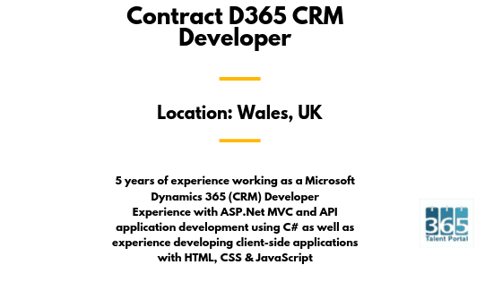 Contract D365 CRM Developer